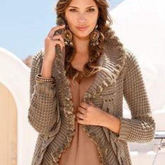 2b943b89899 BOSTON PROPER - Crochet faux fur trim sweater coat